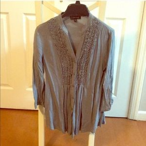 Spense Button Down Gray Top Size Small